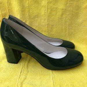 Betty Muller Forest Green Patent Leather Pumps